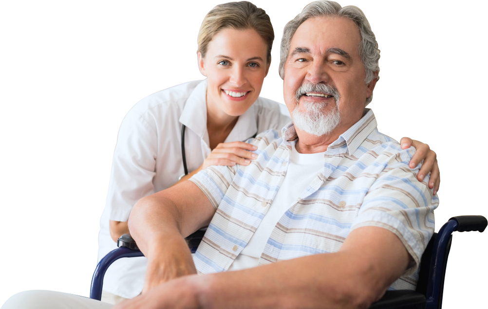 smiling senior man on wheelchair with his caregiver